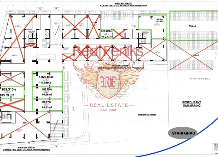 Коммерческое помещение на первой линии в Будве, купить коммерческую недвижимость в Регион Будва