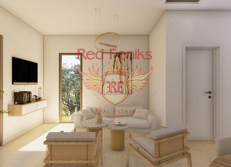 На продажу новая квартира с отдельной спальней площадью 36 м2 на берегу моря в Рисане.