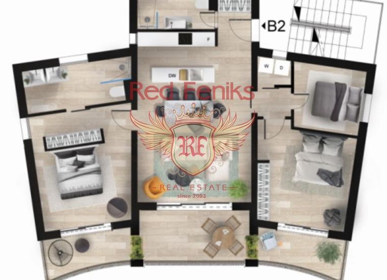 Элитная трехкомнатная квартира в Нью Кондо, Тиват, Кавац, купить квартиру в Регион Тиват