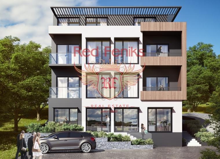 Студии в комплексе на склоне холма в Тивате, купить квартиру в Тиват