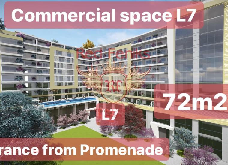 На продажу коммерческое помещение L7 площадью 72,34 м2 в Будве.