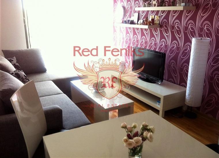 Квартира с отдельной спальней находится в 350 метрах от знаменитого пляжа Бечичи, Черногория.