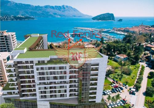 Квартира площадью 60,55 м2 находится на 9 этаже в 10-ти этажном комплексе в Будве.
